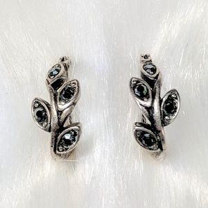 Jewelry - Marcasite Huggie Leaf Hoops